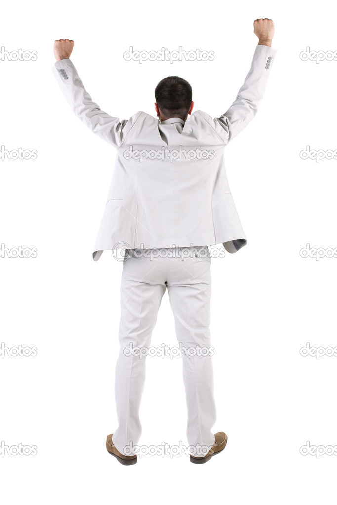 Businessman thumbs up. rear view. Isolated over white . — Stock Photo #7183355