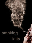 "The concept ""smoking kills"". Isolated on a black background — Stok fotoğraf"