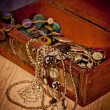 Coffer with jewels — Stock Photo