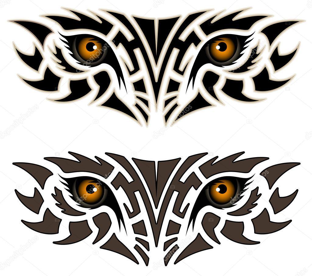 部落纹身的形式的一种动物的眼睛 — 矢量图片作者 flanker-d