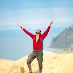 Man on top of mountain — Stock Photo