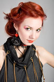 Beautiful red-haired girl — Stockfoto