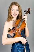 The girl with a violin — Stock Photo