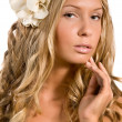 Stock Photo: Flowers in hair