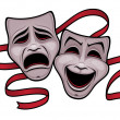 Comedy and Tragedy Theater Masks - Stock Vector