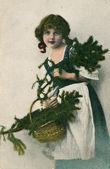 Retro Christmas postcard — Stock Photo