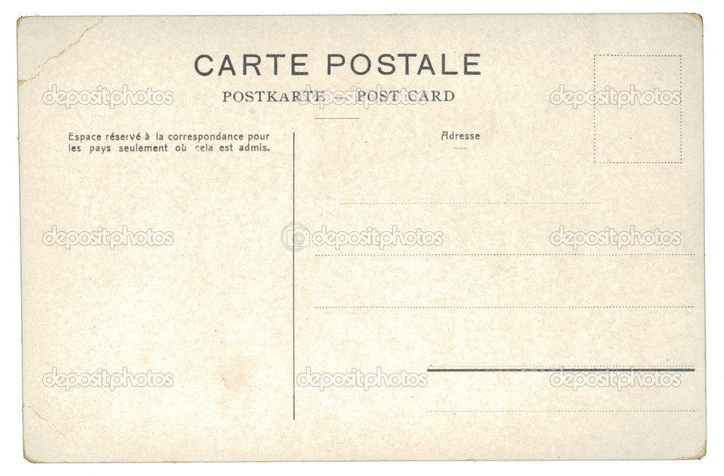 Back of an unused vintage postcard on the white background. France, circa 1910 — Stock Photo #7245817