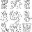 Vector de stock : Heraldic monsters vol VIII