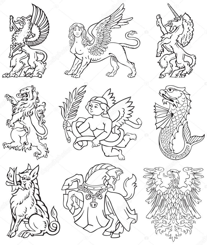 Vectorial pictograms of most heraldic monsters, executed in style of gravure on wood. No dlends, gradients and strokes. — Stock Vector #7344563