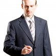 Businessman with a pen — Stock Photo