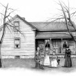Pencil Drawing of Old Farmhouse With - Stock Photo