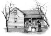 Pencil Drawing of Old Farmhouse With — Stock Photo