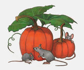 Mice Playing in Pumpkin Patch: Color Pencil Art — Foto Stock