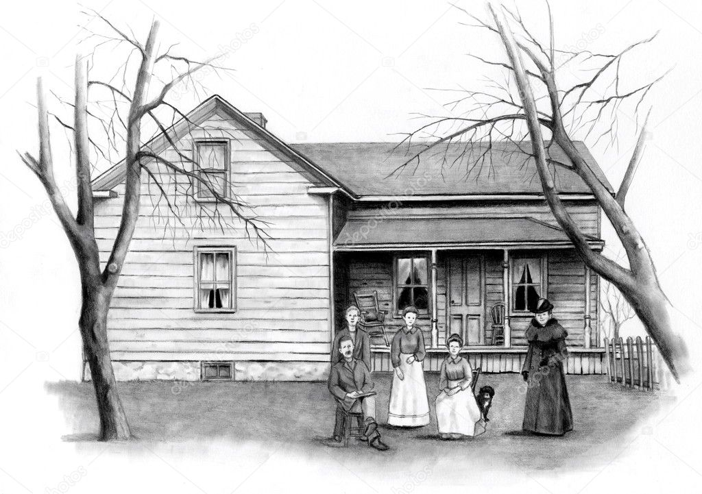 Pencil Drawing Of Old Farmhouse With Stock Photo
