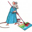 Mouse Making A Painting: Color Pencil Art - Stock Photo