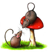 Mice With Toadstool: Color Pencil Art — Stock Photo