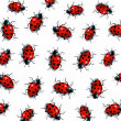 Pattern of Realistic Ladybugs: Freehand Art - Photo