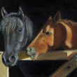 Painting of Horse Heads At Barn Gate — Stock Photo #7022643