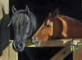 Painting of Horse Heads At Barn Gate — Stock Photo
