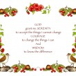 Serenity Prayer With Hand-Drawn Border of Flowers, Birds - Stock Photo