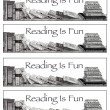 Bookmarks: Reading is Fun: Pencil Drawing of Books — Stock Photo