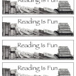 Bookmarks: Reading is Fun: Pencil Drawing of Books — Стоковая фотография