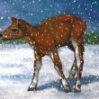 Painting of Small Deer, Fawn in Snow — Stock Photo