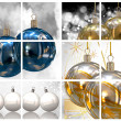 Christmas balls collage background — ストック写真