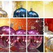 Christmas balls collage background — Stock Photo
