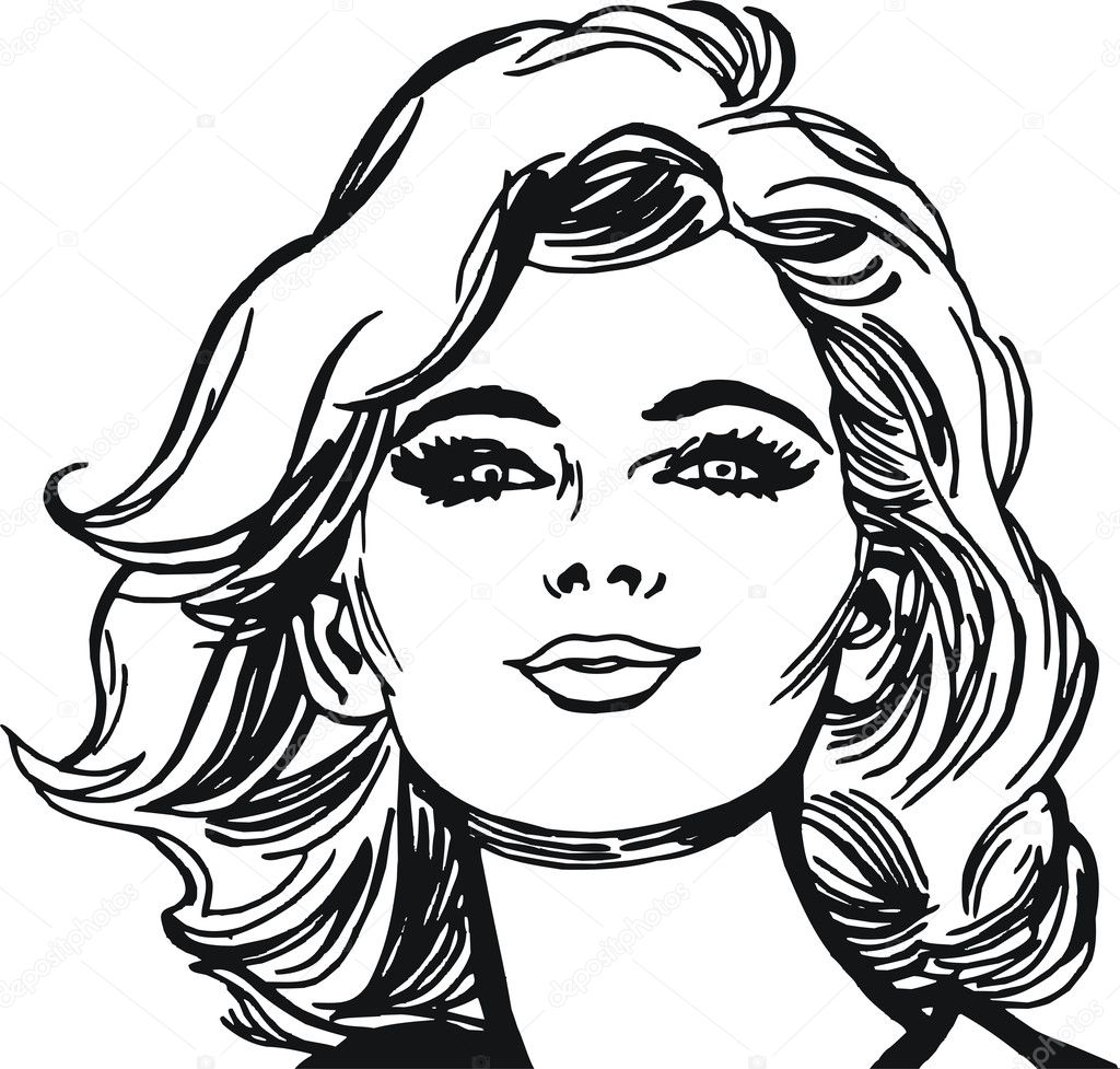 Woman S Face Line Drawing : Face of a beautiful woman stock photo � pakmor