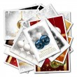 3d isolates illustration of Christmas balls collage background — Stock Photo