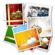 3d Christmas balls collage background — Stock Photo
