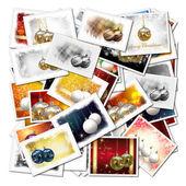 3d-kerstmis ballen collage achtergrond — Stockfoto