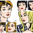 Illustration with collection of portraits blondes and brunettes — Stock Photo