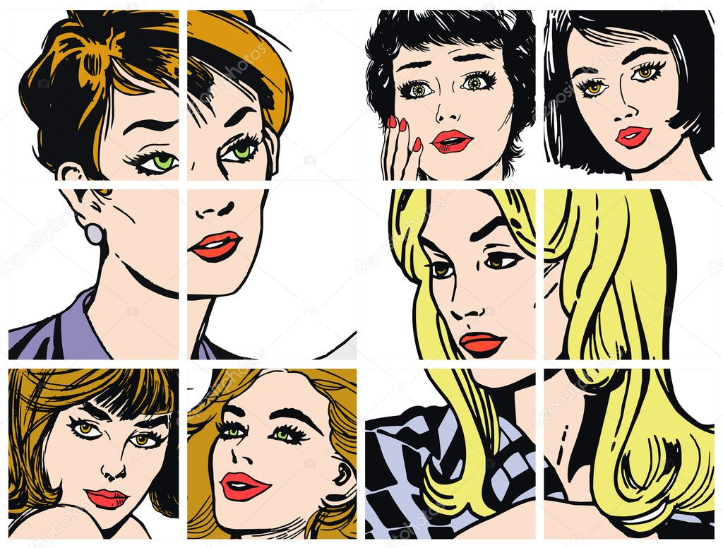 Illustration with collection of portraits blondes and brunettes — Stock Photo #7669670