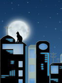 Roofs of the night city — Stock Photo