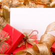 Christmas background. Shiny gifts. — Stock Photo