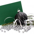 Christmas decoration with greeting card — Stok fotoğraf