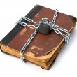 Tattered book with chain and padlock isolated on white backgroun — Stock Photo #7016767
