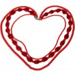 Red necklace in heart shape isolated on white background — Stock Photo