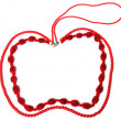 Red necklace in apple shape isolated on white background — Stock Photo