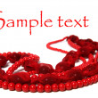 Red beads isolated on white background — Stock Photo