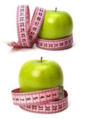 Tape measure wrapped around the apple isolated on white backgro — Stock Photo