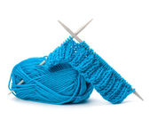 Woollen thread and knitting needle. Needlework accessories. — Stock Photo