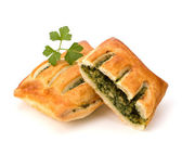 Puff pastry. Healthy pasty with spinach. — Stock Photo