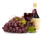 Red wine glass, bottle and grape — Stock Photo