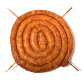 Home sausage isolated on white background — Stock Photo