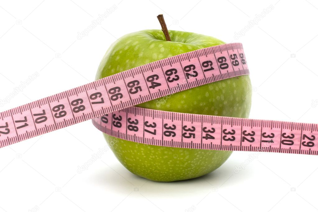 Apple with tape measure isolated on white background. Healthy lifestyle concept. — Stock Photo #7011599