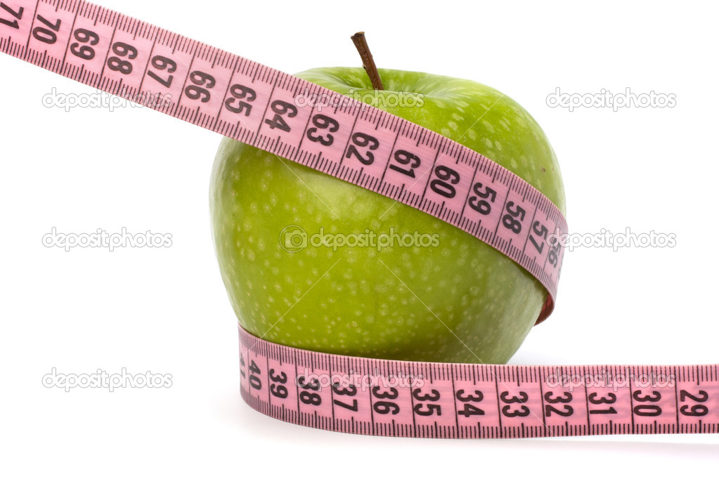 Apple with tape measure isolated on white background. Healthy lifestyle concept. — Stock Photo #7011832