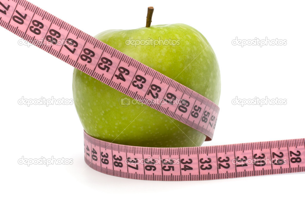 Apple with tape measure isolated on white background. Healthy lifestyle concept. — Stock Photo #7012074